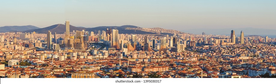 Istanbul sunset panorama - Istanbul is the financial center of Atasehir , Istanbul , Turkey