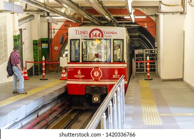 Istanbul, Tunel, Taksim / Turkey - May 30 2019: Karakoy-Tunel Taksim line old tramway on the Tunel station. This line 2nd oldest subway in the world