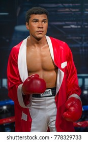 ISTANBUL, TURKE, DECEMBER 19, 2017: Wax sculpture of Muhammad Ali at Madame Tussauds Istanbul. Muhammad Ali died on June 3, 2016 was an American professional boxer and activist.