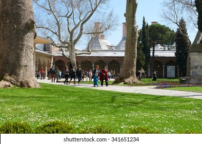 ISTANBUL, TURKEY, 01 APRIL 2015: Topkapi Palace with unidentified people. Its a large palace in Istanbul, that was the primary residence of the Ottoman sultans for approximately 400 years