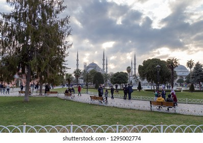 Istanbul / Turkey - 01/19/2019: Peoople walking at the Sultanahmet Square. View of the Sultanahmet Square, Istanbul, Turkey.