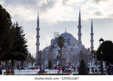 Istanbul / Turkey - 01/19/2019: Street view from Sultanahmet Square. Foreign and local tourists coming to see the Blue Mosque (Sultanahmet Camii) and Square.