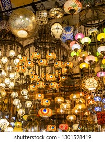 Istanbul / Turkey - 01/21/2019: View of some shops selling colorful lamps and decorative and gift ornaments in the Grand Bazaar.