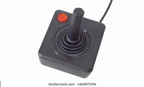 Istanbul, Turkey - 02 04 2018 - Commodore 64 - Atari 2600 old red button controller with red button - Background cleaned