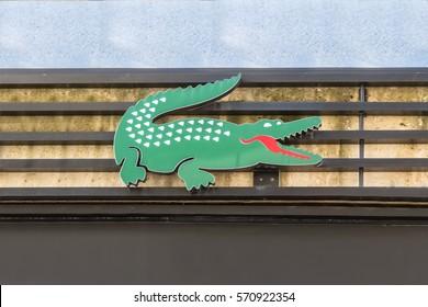 Istanbul, Turkey - 02 February 2017: Lacoste logo, green crocodile