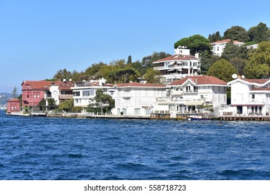 ISTANBUL - TURKEY / 02.10.2016: High-end mansions and villas along the Bosphorus Strait