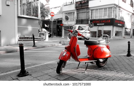 Istanbul, Turkey - 03 05 2016: Red Vespa on Turkish street in Istanbul