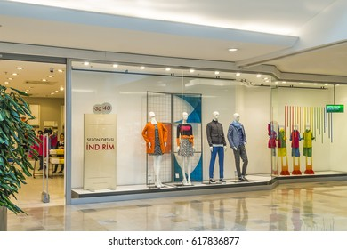 Istanbul, Turkey - 03 April 2017: United Colors Of Benetton Store .Carrefoursa Icerenkoy Avm. It is one of the most renowned fashion companies in the world and has about 5,000 stores network