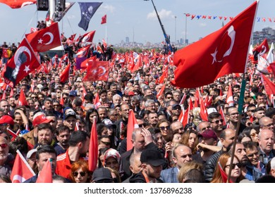 "Istanbul / Turkey - 04 21 2019: ""A Fresh Start' meeting of the newly elected Istanbul mayor Ekrem Imamoglu, who was the mayoral candidate for Turkey's main opposition."