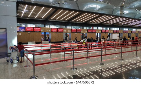 Istanbul, Turkey 04 July 2019:  Istanbul Airport (IGA) is the new international airport serving the city of Istanbul in Turkey.