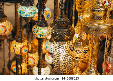 Istanbul, Turkey - 04/16/2019 Various old lamps on the Grand Bazaar in Istanbul