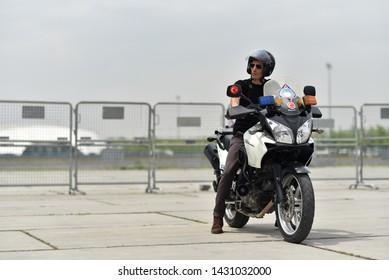 Istanbul / Turkey - 05.15.19: Policeman on motorcycle of Zabita (Turkish municipal police)