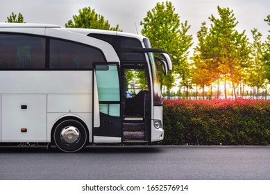 Istanbul / Turkey - 05.15.19: Travel company bus Mercedes-Benz Travego greets tourists at the airport to take to the hotel.