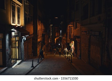 Istanbul / Turkey - 05.17.19: Night narrow ancient street with hill in Istanbul