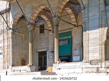Istanbul, Turkey - 05/24/2010: Eminonu Yeni Cami (new mosque) entrance, Istanbul, Turkey.