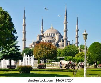 Istanbul, Turkey - 05/25/2010: Blue mosque (Sultanhmet camii) and Sultanahmet square.