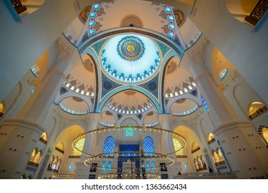 Istanbul, Turkey - 06 June, 2019: Inside interior of Camlica Mosque. The new mosque and the biggest in Istanbul. Located on the beautiful Buyuk Camlica Tepesi hill. Includes a museum, art gallery.