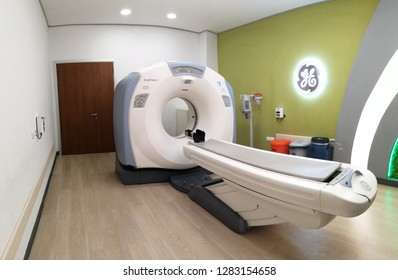 Istanbul TURKEY - 07, January 2019: Computed tomography or computed axial tomography scan machine in hospital room. Equipment in oncology department. Private Hospital.