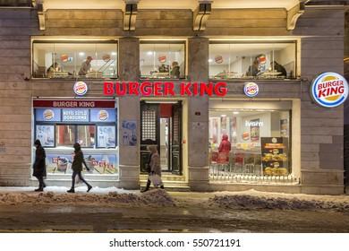 Istanbul , Turkey - 07 Ocak 2017 : People walking at Istiklal street in Istanbul. Burger King hamburger restaurant in istiklal street