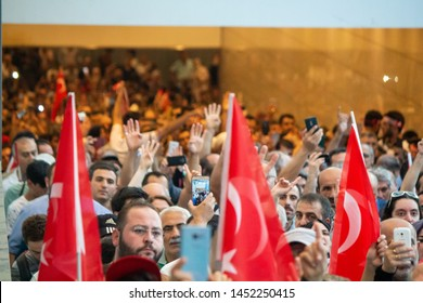 Istanbul / Turkey 07.15.2019 July 15 coup attempt anniversary. Crowds arriving Ataturk airport.