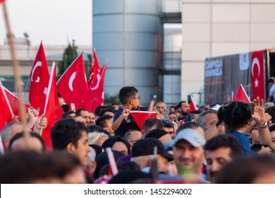 Istanbul / Turkey 07.15.2019 July 15 coup attempt anniversary. CrowJuly 15 coup attempt anniversaryd people going to meeting area.