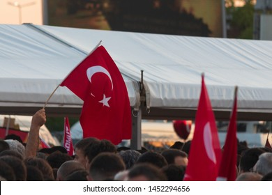 Istanbul / Turkey 07.15.2019 July 15 coup attempt anniversary. Crowd people going to meeting area. Ataturk Airport.