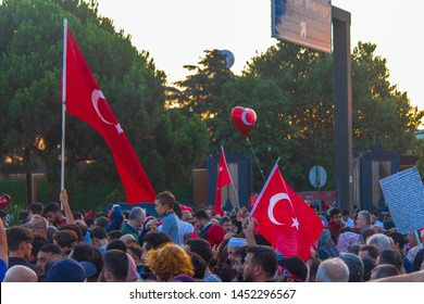 Istanbul / Turkey 07.15.2019 July 15 coup attempt anniversary. Crowd people going to meeting area.