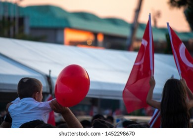 Istanbul / Turkey 07.15.2019 July 15 coup attempt anniversary. Crowd people going to meeting area. Through the eyes of the little boy.
