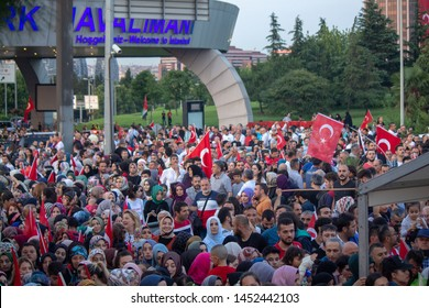 Istanbul / Turkey 07.15.2019 July 15 coup attempt anniversary. People arriving at Ataturk airport.