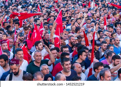 Istanbul / Turkey 07.15.2019 July 15 coup attempt anniversary. Recep Tayyip Erdogan lovers.