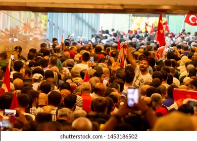 Istanbul / Turkey 07.15.2019 July 15 coup attempt anniversary. Crowds arriving Ataturk airport metro.