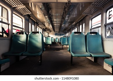 Istanbul / Turkey - 07.29.2017: Inside of a decommissioned train car.