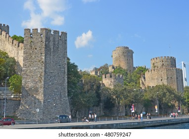 ISTANBUL TURKEY 09 29 13: Rumelian Castle or Bogazkesen Castle is a fortress located in the Saryer district of Istanbul on a hill at the European side of the Bosphorus