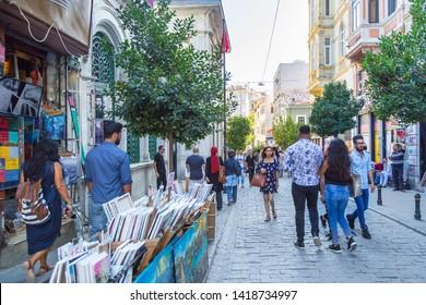 Istanbul / Turkey - 09/01/2017: Tourists walking down famous Istanbul street near Istiklal in Beyoglu district