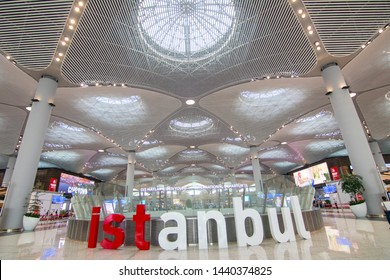 ISTANBUL, TURKEY - 1 JUNE 2019: Istanbul letters in red and white inside Istanbul Airport for people to take photos. Istanbul Airport is among the largest airports. New Airport (IST)