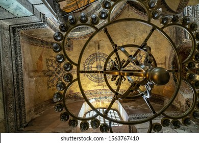 ISTANBUL, TURKEY - 1 MAY, 2014: Interior Famous Hagia Sophia in Turkish, is a former Byzantine church and former Ottoman mosque in Istanbul.