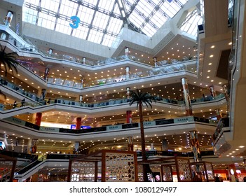 Istanbul, Turkey, 10 April 2018. Big shopping center in Istanbul, interior view