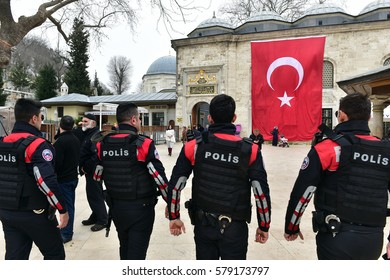 Istanbul Turkey - 10 February  2017: Turkish Police security patrol