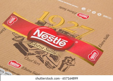 ISTANBUL TURKEY - 10 JUNE, 2017 : Nestle chocolate special packing for Turkey. Nestle's first chocolate packages in Turkey.