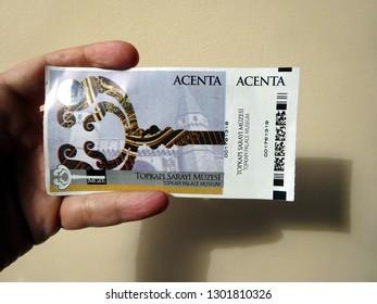 Istanbul, Turkey / 10.05.18: Museum of Topkapi palace - entrance ticket