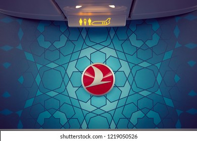 Istanbul / Turkey - 10.24.2018: Turkish Airlines Logo inside an aircraft, inside a THY Boeing