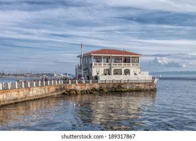 ISTANBUL, TURKEY - 10th of April 2014: Restaurant on the water in  Kadikoy district on 10th of April 2014 in ISTANBUL, TURKEY