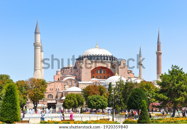 ISTANBUL, TURKEY- 10th Aug 2017: Tourists around Hagia Sophia. Hagia Sophia is a former Orthodox patriarchal basilica, later a mosque and now a museum.