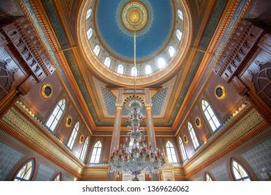 Istanbul, Turkey -12 april, 2019: Inside interior and ceiling of Yildiz Hamidiye Mosque (Turkish: Yildiz Camii), built by Sultan Abdulhamid II, 1885 in Besiktas. Next to Yıldız Palace (Sarayı)