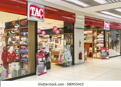 Istanbul , Turkey - 13 February 2017 : TAC store. Turkey's leading home textile brand. The foundations of the TAC brand were laid in Denizli , one of the traditional centers of home textile in 1950.