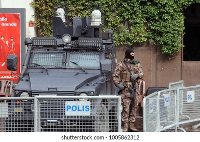 ISTANBUL, TURKEY - 14 January, 2018: Armed policeman on duty near Galata tower
