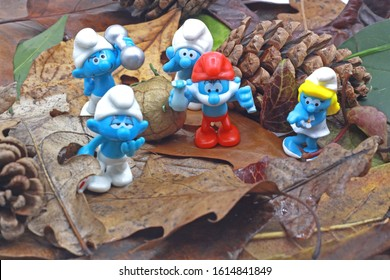 istanbul Turkey. 14 January  2020, smurf ones went for a stroll through the forest, they were very happy on an autumn day,