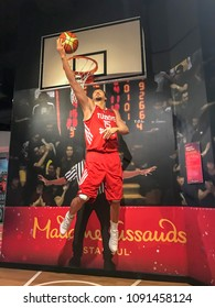 Istanbul, Turkey, 14 May 2018: Wax sculpture of Hidayet Turkoglu, a Turkish former professional basketball player who played 15 seasons in NBA, on display at Madame Tussauds Istanbul.