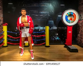 Istanbul, Turkey, 14 May 2018: Wax sculpture of Muhammad Ali at Madame Tussauds Istanbul. Muhammad Ali died on June 3, 2016 was an American professional boxer and activist.