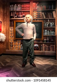 Istanbul, Turkey, 14 May 2018: Albert Einstein wax figure at Madame Tussauds museum in Istanbul. Albert Einstein was a physicist who developed the general theory of relativity.